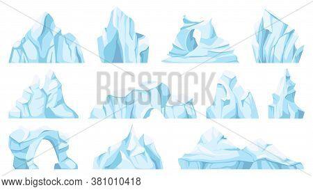Cartoon Iceberg. Drifting Arctic Glacier Or Ice Rock. Frozen Water, Antarctic Ice Peaks, Icy Mountai