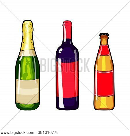 Champagne Bottle, Wine Bottle And Beer Bottle. Set Of Alcohol Bottle. Cartoon Style. Alcohol Bottle