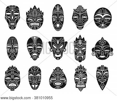 Idol Mask. Monochrome Black Hawaii Tiki Tahitian Ritual Totem, Exotic Traditional Culture Antique My