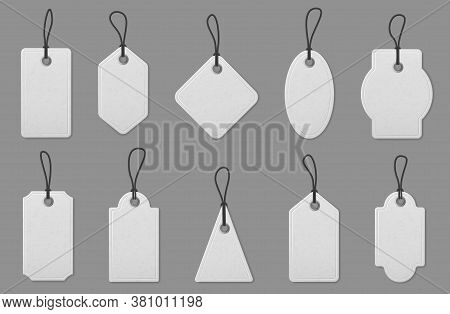 Price Label Tag Cards. Realistic White Shopping Labels With Ropes, Hanging Tags For Marking Pricing,