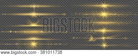 Warm Glow Light Lines Glare. Abstract Bright Gold Flash With Glowing Line, Ray Shining Border, Flare