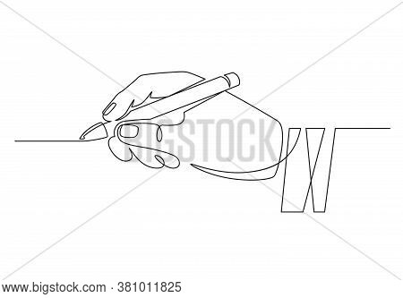 Hand With Pen. Continuous One Line Businessman Hand Holding Pencil And Writing Straight Line. Minima