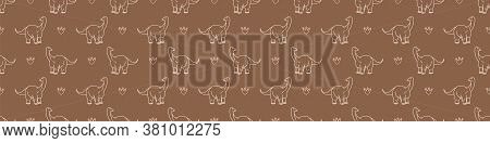 Seamless Background Cute Apatosaurus And Foliage Dinosaur Gender Neutral Baby Border Pattern. Simple