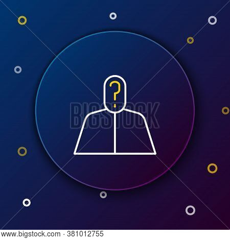 Line Anonymous Man With Question Mark Icon Isolated On Blue Background. Unknown User, Incognito Prof