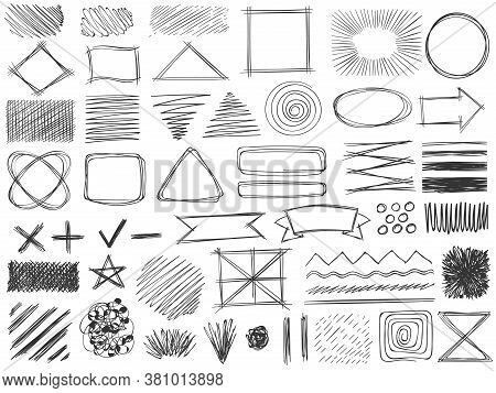 Sketch Shapes. Monochrome Scribble Symbols, Drawing Pencil Frame, Stroke And Shade, Hatched Shaded B