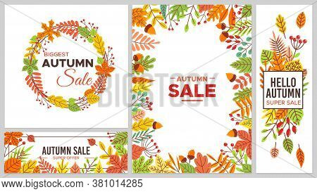 Autumn Sale Banners. Colorful Fall Leaves, Seasonal Discount. Tree Foliage As Maple And Chestnut Lea