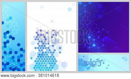 Molecular Structure Banners Set. Connecting Lines And Dots, Hexagons Abstract Tech Background. Scien