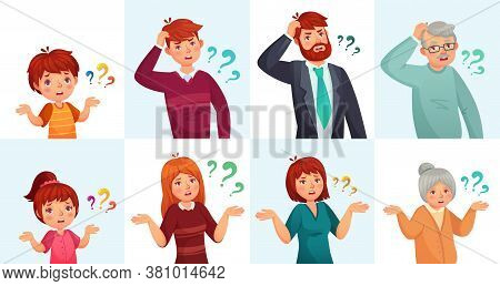 People Ask Questions, Doubt Or Confused. Man And Woman Thinking Or Hesitating With Question Marks. C