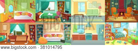 Room Interior. Bedroom, Living Room, Kitchen, Kids Bedroom With Furniture. Teenage Room With Bed, Ta