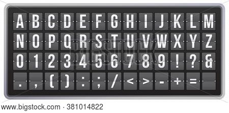 Realistic Scoreboard Flip Font. Latin Alphabet, Numbers And Symbols On Panel. Mechanical Scoreboard
