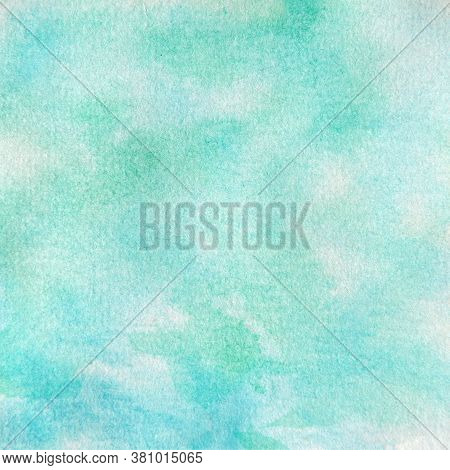 Aqua And Green Watercolor Texture In This 12x12 Design Element For Digital Paper And Backgrounds.  H