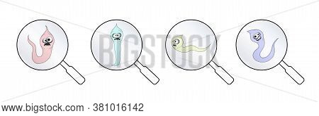 Helminths, Roundworms. Intestinal Parasites. Warning Sign Parasitism , Vector Illustration. The Conc
