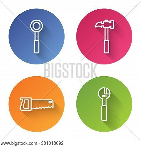 Set Line Wrench Spanner, Claw Hammer, Hand Saw And Adjustable Wrench. Color Circle Button. Vector