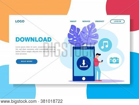 Download Landing Page Templates For Free. Background With Upload Marks On The Laptop Screen. Downloa