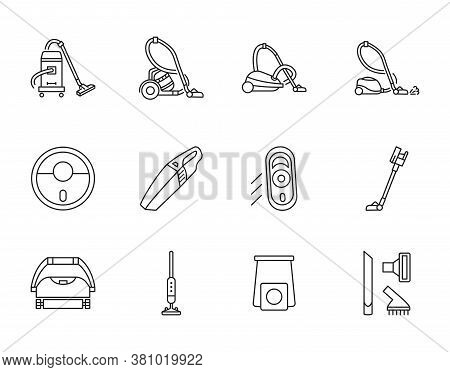 Vacuum Cleaner Line Icons Set. Vector Illustration Different Types Hoover