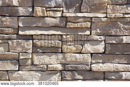 Light Stone Wall For Textures And Design Elements With No Mortar.