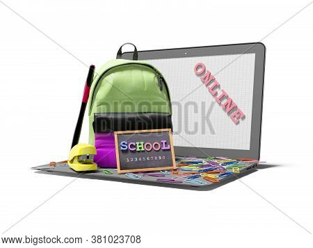 3d Rendering Concept School Online Via The Internet On White Background With Shadow
