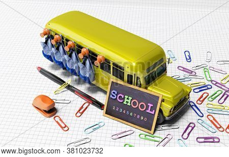 3d Rendering Concept Set Of School Accessories On White Background With Shadow