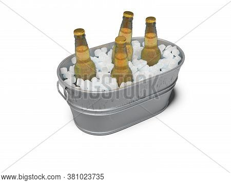 3d Rendering Concept Of Chilled Beer In An Ice Bucket On White Background With Shadow