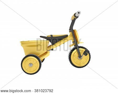 3d Rendering Yellow Tricycle For Child Side View On White Background No Shadow