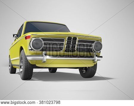 3d Rendering Yellow Classic Car With Tinted Windows In Front Of Gray Background With Shadow