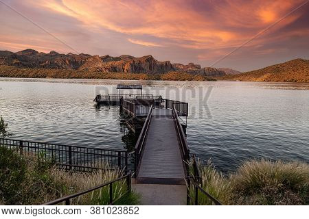 Sagauro Lake In The Tonto National Forest Near Phoenix, Arizona