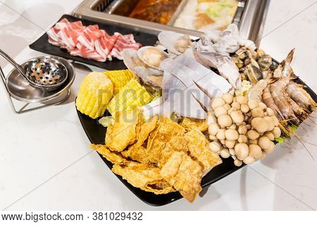 Steamboat Hotpot Meal With Luxurious Seafood Sliced Meat Ingredients
