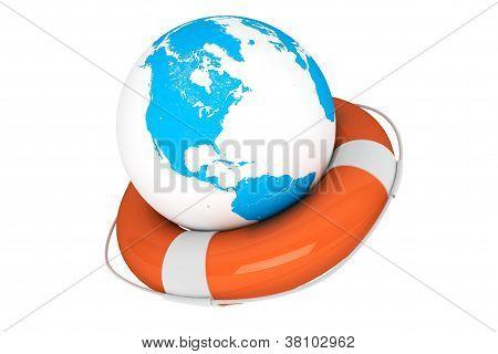 Life Buoy And Earth Globe