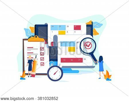 Vector Illustration, Whiteboard With Schedule Plans, Work Planning, Daily Routine, People Filling Ou