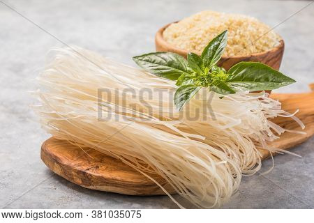 Traditional Vietnamese Pho Noodles. Ingredient For Asian Pho Bo Soup On Grey Background.