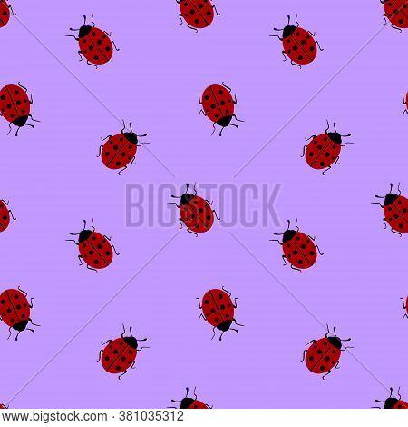 Seamless Pattern With Ladybug On Violet Background. Vector Illustration.