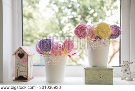 Homemade Candies Meringue On Stick Meringue Candy On Wooden Stick. Festive Sweet Table For Children.