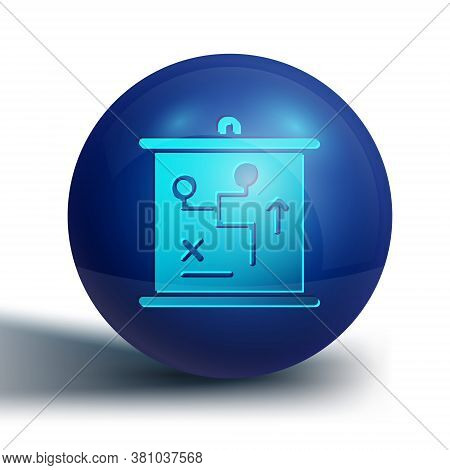 Blue Planning Strategy Concept Icon Isolated On White Background. Cup Formation And Tactic. Blue Cir