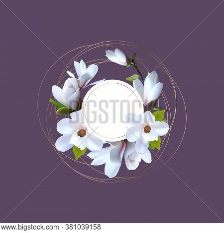 Banner, Greeting Card With Magnolia Flowers, Card With Realistic Magnolia. Premade Arrangement Flowe