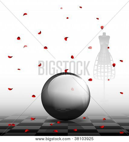 glass ball and red petals