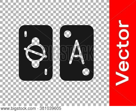 Black Tarot Cards Icon Isolated On Transparent Background. Magic Occult Set Of Tarot Cards. Vector