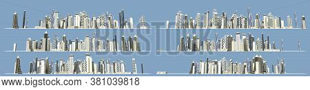 City Planning Concept, Set Of 6 Detailed Images Of Modern Skyscrapers Forming City Skyline Isolated