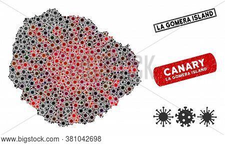Coronavirus Collage La Gomera Island Map And Rubber Stamp Seals. La Gomera Island Map Collage Constr
