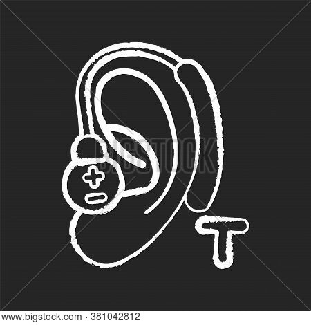 Hearing Loop Chalk White Icon On Black Background. Assistive Listening Technology. Audio Induction L