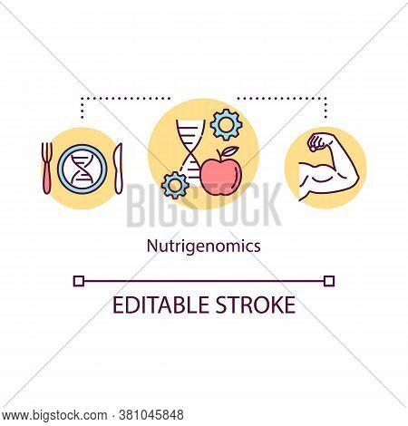 Nutrigenomics Concept Icon. Biohacking, Healthy Eating Idea Thin Line Illustration. Nutrition Manage