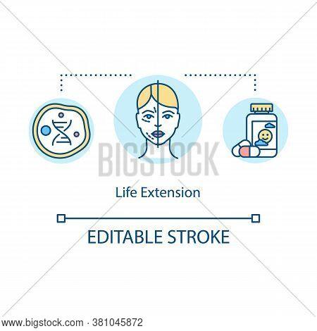 Life Extension Concept Icon. Biohacking, Rejuvenation Idea Thin Line Illustration. Life Prolonging W