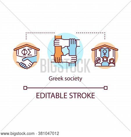 Greek Society Concept Icon. Fraternity Organization. Sorority And Student Brotherhood. College Life
