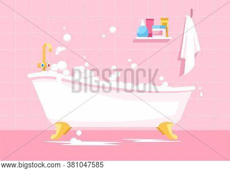 Pink Bathroom Semi Flat Vector Illustration. Bath Tub With Bubbles. Bathtub With Soap Foam For Daily
