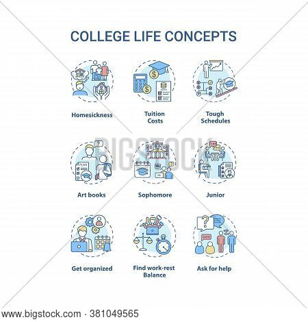 College Life Concept Icons Set. Tuition Cost. Tough Schedule. Sophomore, Junior And Senior. Student