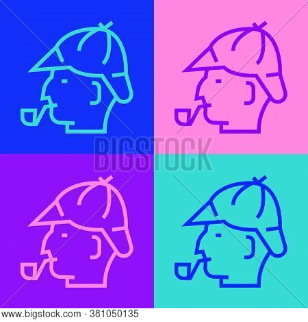 Pop Art Line Sherlock Holmes With Smoking Pipe Icon Isolated On Color Background. Detective. Vector