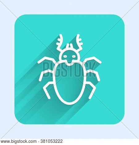 White Line Beetle Deer Icon Isolated With Long Shadow. Horned Beetle. Big Insect. Green Square Butto