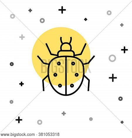 Black Line Mite Icon Isolated On White Background. Random Dynamic Shapes. Vector