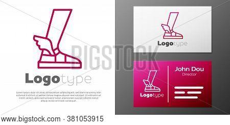 Logotype Line Hermes Sandal Icon Isolated On White Background. Ancient Greek God Hermes. Running Sho
