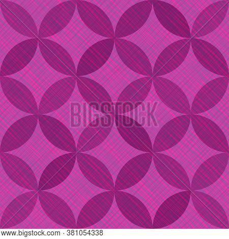 Interlacing Circles Parts Vintage Seamless Vector Pattern. Guatrefoil Flower Purple Medieval Endless