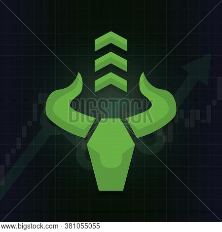 Bullish Symbols On Stock Market Vector. Fund, Forex Or Commodity Price Charts, On Abstract Backgroun